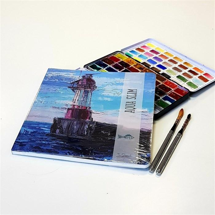 "AquaSlimArt 23x23 ""Маяк"",скетчбук для акварели в мягкой обложке, 25% хлопка/AquaSlim 23x23, sketchbook for watercolor, soft cover, 25% cotton - фото 4722"
