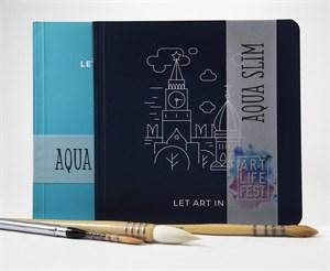 AquaSlimArt 23x23,скетчбук для акварели в мягкой обложке, 25% хлопка/ Sketchbook AquaSlim 23x23 for watercolor, soft cover, 25% cotton