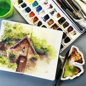 AquaTop A5, скетчбук для акварели, 100% хлопок/ AquaTop A5, sketchbook for watercolor,  100% cotton - фото 5032