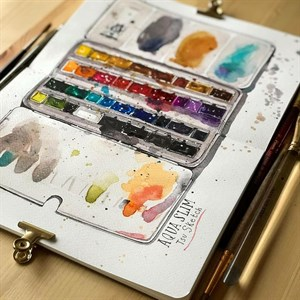 AquaSlim 17x24 , скетчбук для акварели, мягкая обложка, 25% хлопка/ AquaSlim 17x24, sketchbook  for watercolor, soft cover, 25% cotton - фото 5041