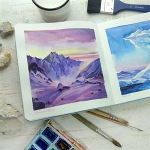 Aqua StArt 20x20, скетчбук для акварели,  25% хлопка/ Aqua StArt 20x20 sketchbook for watercolor, 25% cotton - фото 5048