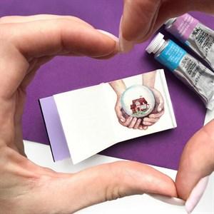 AquaBoYan 5х5, скетчбук-гармошка для миниатюр,с бумагой 25% хлопка, фактурой FIN - фото 5212