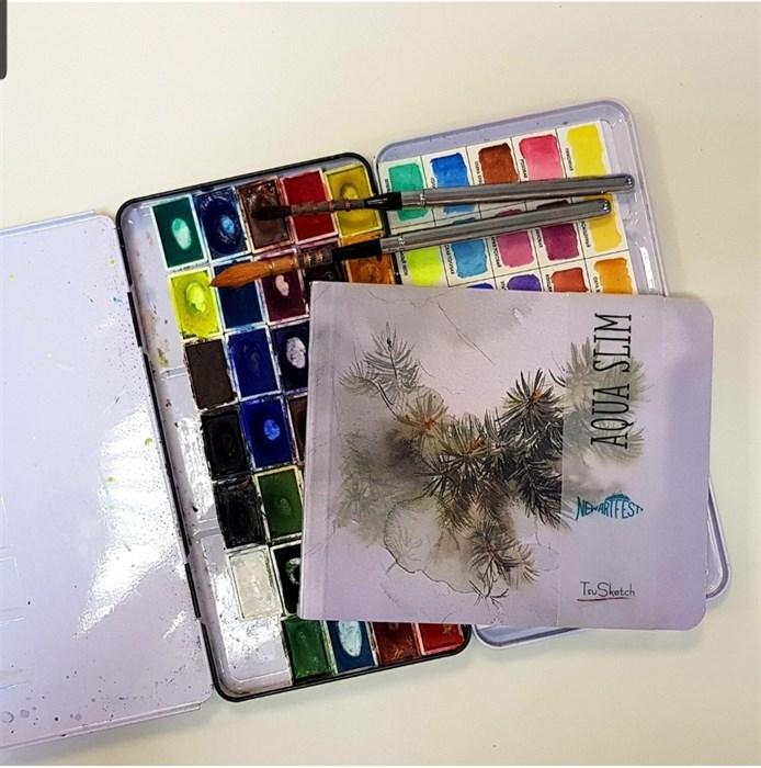 AquaSlim 17x17, скетчбук для акварели, мягкая обложка, 25% хлопка / AquaSlim 17x17, sketchbook  for watercolor, soft cover, 25% cotton - фото 5020