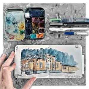 AquaSoft 10x10,скетчбук для акварели,25% хлопка,мягкая обложка из экокожи /AquaSoft 10x10, sketchbook for watercolor, 25% cotton, eco-leather - фото 4587