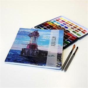 "AquaSlimArt 23x23 ""Маяк"",скетчбук для акварели в мягкой обложке, 25% хлопка/AquaSlim 23x23, sketchbook for watercolor, soft cover, 25% cotton"