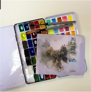 AquaSlim 17x17, скетчбук для акварели, мягкая обложка, 25% хлопка / AquaSlim 17x17, sketchbook  for watercolor, soft cover, 25% cotton