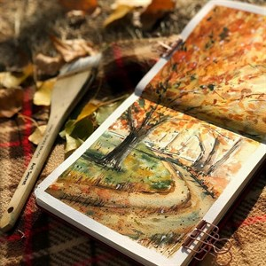 AquaTop 18x18, скетчбук для акварели, 100% хлопок/ AquaTop 18x18, sketchbook for watercolor,  100% cotton - фото 5035