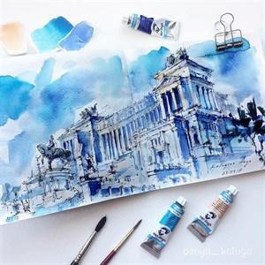 AquaSlim 17x17 , скетчбук для акварели, мягкая обложка, 25% хлопка/ AquaSlim 17x17, sketchbook  for watercolor, soft cover, 25% cotton - фото 5049